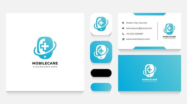 Sjabloon met logo voor mobiele gezondheidszorg en visitekaartje