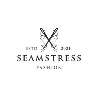 Sjabloon met logo voor naaister naald