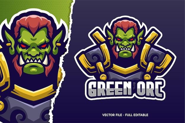 Sjabloon met logo voor orc monster e-sport game