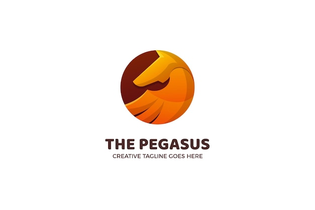 Sjabloon met logo voor paard pegasus mascotte