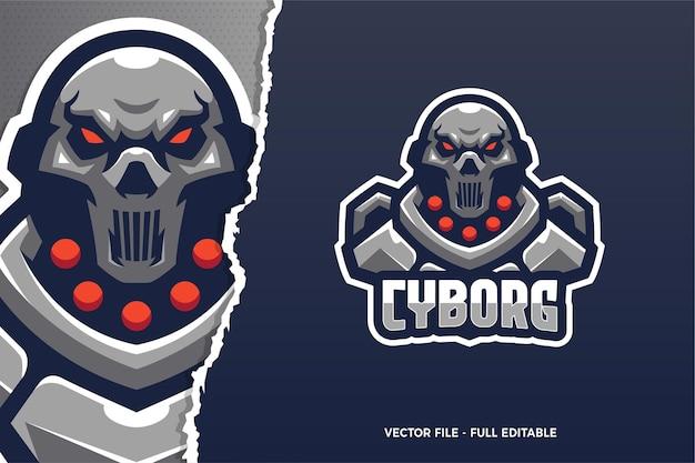 Sjabloon met logo voor robot cyborg e-sport game