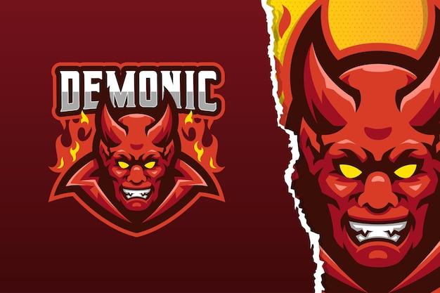 Sjabloon met logo voor rode hoorn demon mascotte
