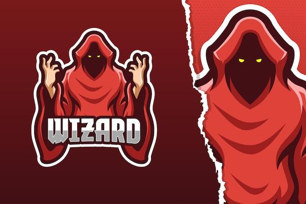 Sjabloon met logo voor rood gewaad tovenaar mascotte