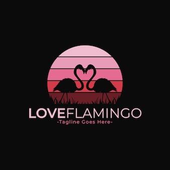 Sjabloon met logo voor roze flamingo silhouet