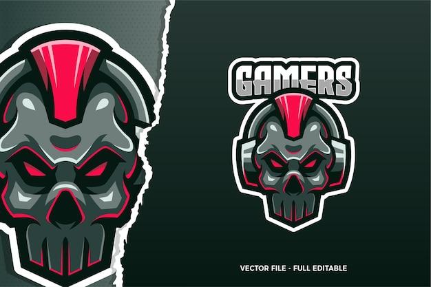 Sjabloon met logo voor skull gamer e-sport