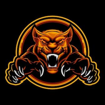Sjabloon met logo voor tijger boos mascotte