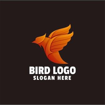 Sjabloon met logo voor vogel mascotte kleurovergang