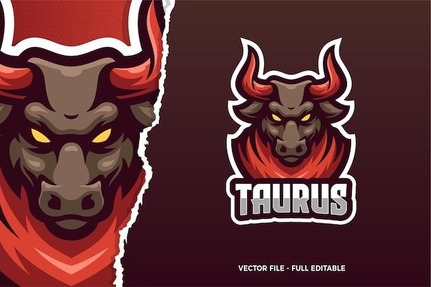 Sjabloon met logo voor wild bull animal e-sport game