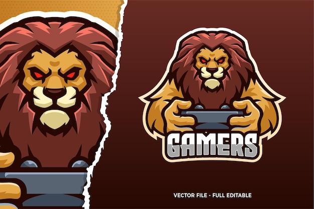 Sjabloon met logo voor wild lion esports-spel