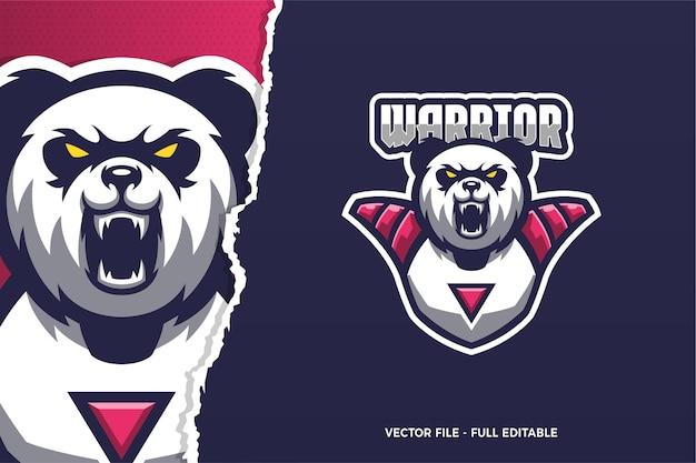 Sjabloon met logo voor wild panda e-sport game