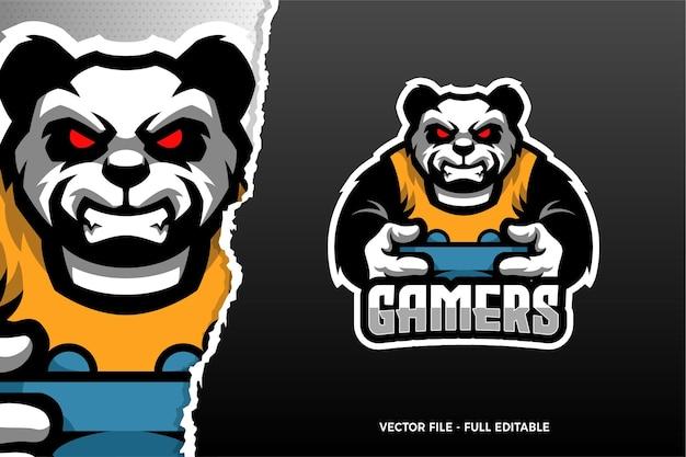 Sjabloon met logo voor wild panda esports game