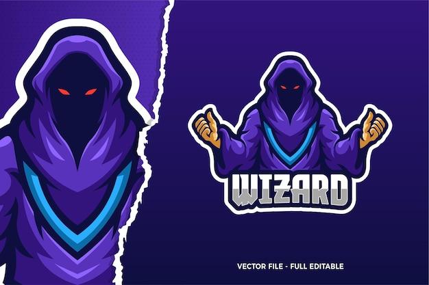Sjabloon met logo voor wizard demon e-sport game