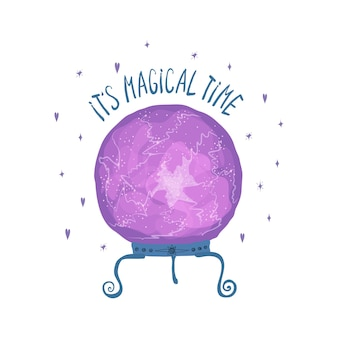 Sjabloon met paarse magische bal voor waarzeggerij en belettering het is magische tijd geïsoleerd op een witte achtergrond. illustratie voor het ontwerp van een ansichtkaart, flyer, banner. vector