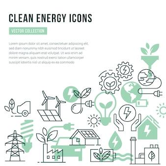Sjabloon met plaats voor tekst en geïsoleerde pictogrammen ingesteld op het thema van groene energie