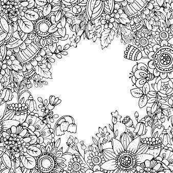 Sjabloon met prachtige zwart-wit bloemmotief in doodle stijl.