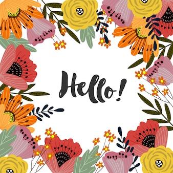 Sjabloon met schattige hand tekenen helder boeket bloemen