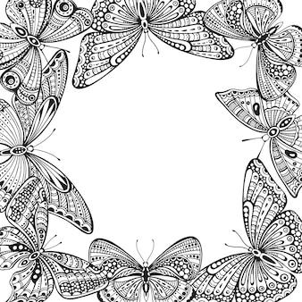Sjabloon met sierlijke doodle hand getekende vlinders.