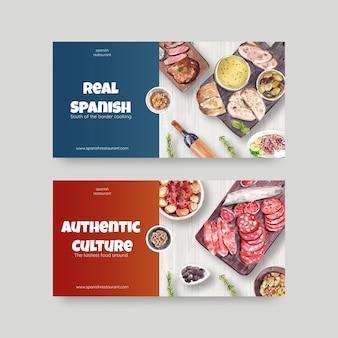 Sjabloon met spaanse keuken conceptontwerp voor sociale media aquarel illustratie