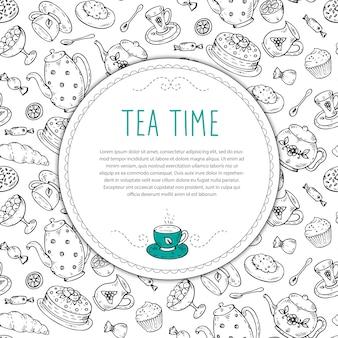 Sjabloon met thee schets doodle hand getrokken elementen.