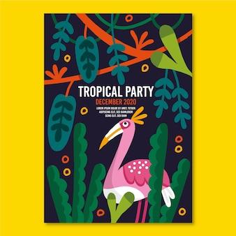 Sjabloon met tropische partij poster concept