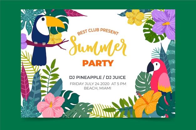 Sjabloon met tropische partij poster thema