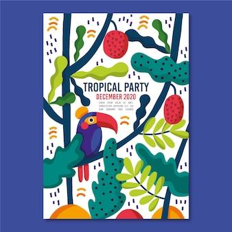 Sjabloon met tropische partij posterontwerp