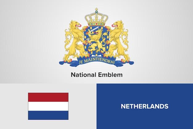 Sjabloon met vlag van het nationale embleem van nederland