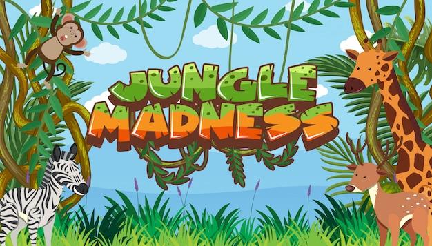 Sjabloon met woord jungle waanzin in safari
