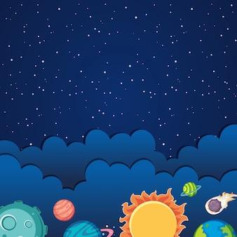 Sjabloon met zonnestelsel thema