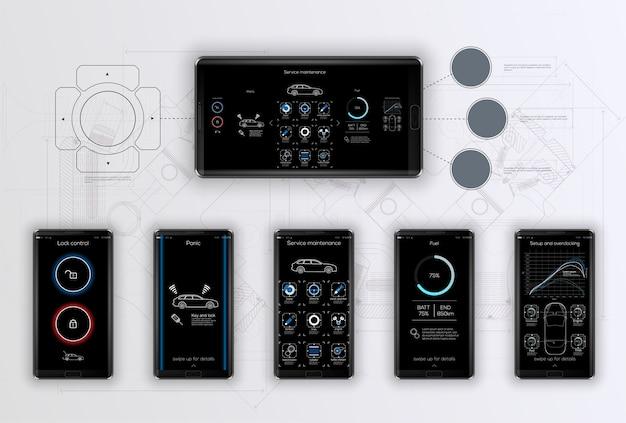 Sjabloon mobiele applicatie, voor beheer en diagnose van auto's, servicetoepassing voor diagnose, de achtergrond is gemaakt in de stijl van tekeningen. beeld.