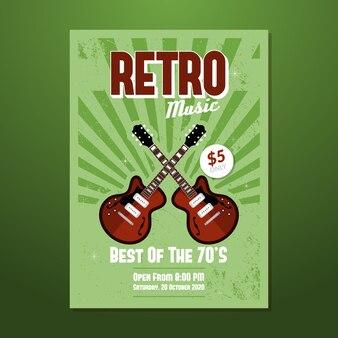 Sjabloon muziek retro poster