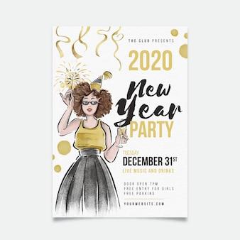 Sjabloon nieuwjaar aquarel partij flyer