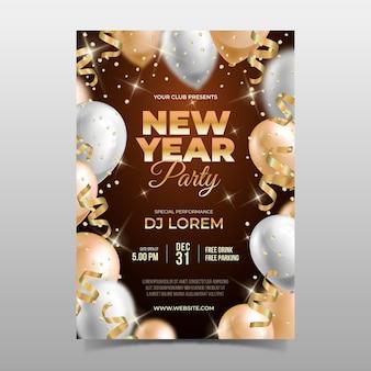 Sjabloon nieuwjaar realistische partij flyer