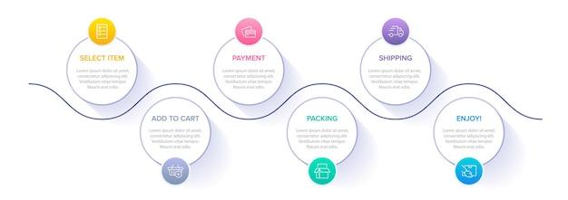 Sjabloon om infographics te winkelen zes opties of stappen met pictogrammen en tekst