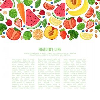 Sjabloon ontwerp boekje met het decor van het fruit horizontaal patroon van natuurlijk voedsel, fruit, groenten en bessen