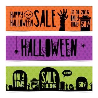 Sjabloon ontwerpset van horizontale banners met happy halloween kortingen.