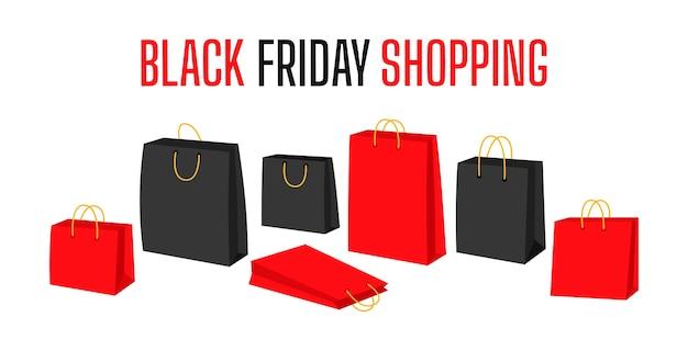 Sjabloon op black friday met boodschappentas. zwart en rood cartoonpakket. banner van verkoop, promotie.