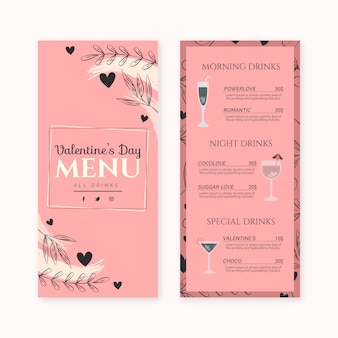 Sjabloon platte valentijnsdag menu