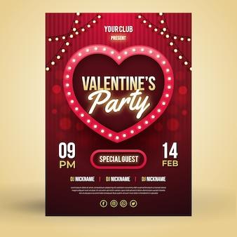Sjabloon platte valentijnsdag partij flyer