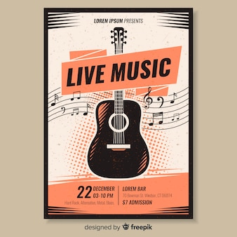 Sjabloon poster retro muziek