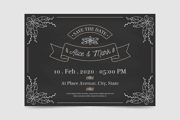 Sjabloon retro bruiloft uitnodiging