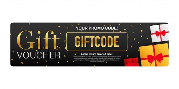 Sjabloon rode en blauwe geschenkenkaart. cadeaubon met couponcode. kortingsbon. stock illustratie.