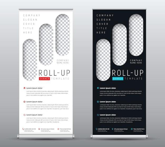 Sjabloon roll-up banner met plaats voor foto in de vorm van rechthoeken met afgeronde hoeken.
