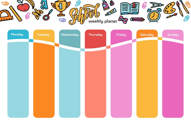 Sjabloon schoolrooster voor studenten en leerlingen. illustratie bevat veel handgetekende elementen van schoolbenodigdheden