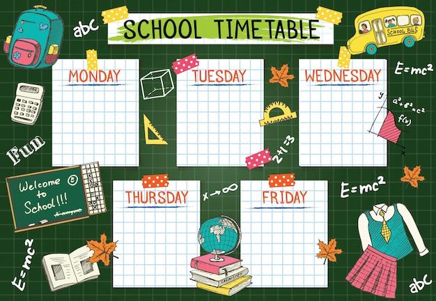 Sjabloon schoolrooster voor studenten of leerlingen. de illustratie omvat vele hand getrokken elementen van schoolbenodigdheden en bordachtergrondthema.