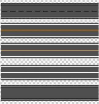 Sjabloon set rechte asfaltwegen.
