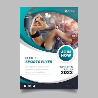 Sjabloon sport folder met foto