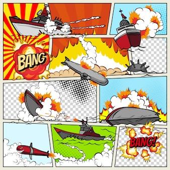 Sjabloon stripboekpagina met oorlogsschepen. pop art schepen die exploderen.