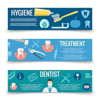 Sjabloon tandheelkundige dienst platte banners
