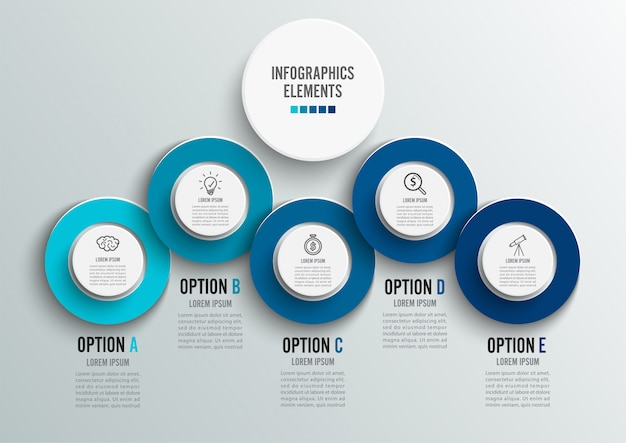 Sjabloon tijdlijn infographic horizontaal gekleurd